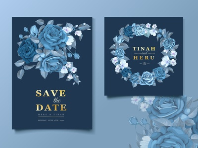 wedding classic blue floral invitation card template