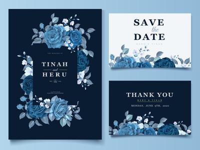 wedding classic blue floral invitation card template