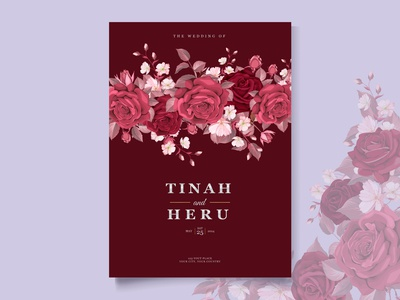 Romantic Floral Maroon Wedding Invitation