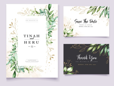 Wedding invitation card with beautiful floral and leaves frame watercolor romantic template greeting vintage spring invite decoration vector elegant design beautiful decorative card floral invitation leaf wedding illustration