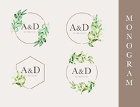 floral wedding monogram template