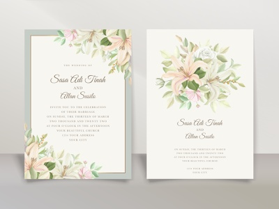 Beautiful floral lily flowers invitation card leaf summer decoration romantic spring vector illustration greeting art blossom wedding beautiful vintage lily card invitation design flower background floral