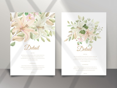 Elegant lily wedding invitation card set nature template banner pattern celebration design leaf graphic summer vintage frame vector floral flower illustration background invitation wedding lily card