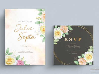 elegant watercolor floral wedding invitation card set greenery vintage romantic decorative spring vector leaf design set frame decoration invitation invite flower elegant watercolor illustration card wedding floral