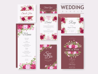 Wedding card bundle with beautiful invitation card template