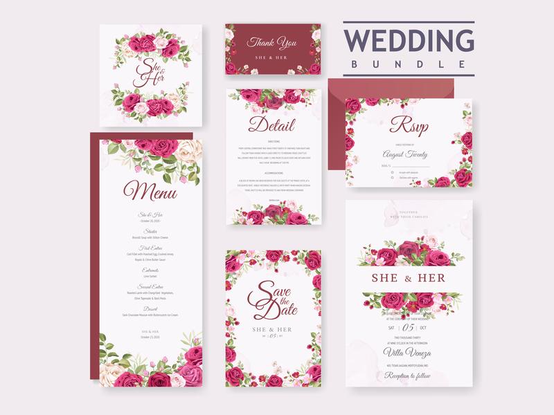 Wedding Card Bundle With Beautiful Invitation Card Template