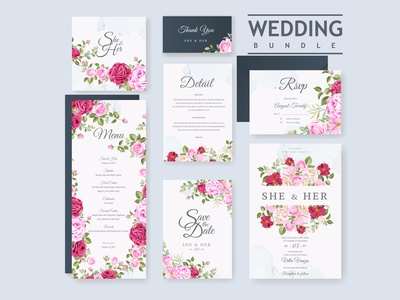 wedding invitation bundle with beautiful flowers and leaves