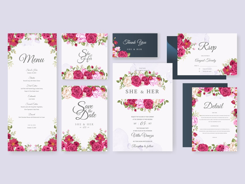 Wedding card set with floral and leaves background template watercolor greeting invite illustration beautiful decoration background decorative vintage leaf elegant set frame template vector floral card design wedding invitation
