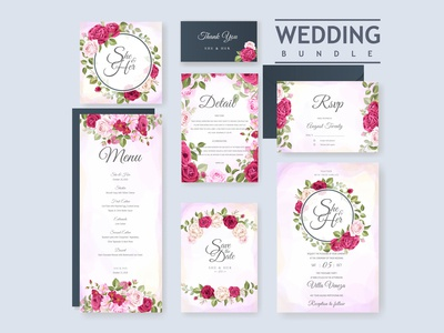 Wedding card set with floral and leaves background template