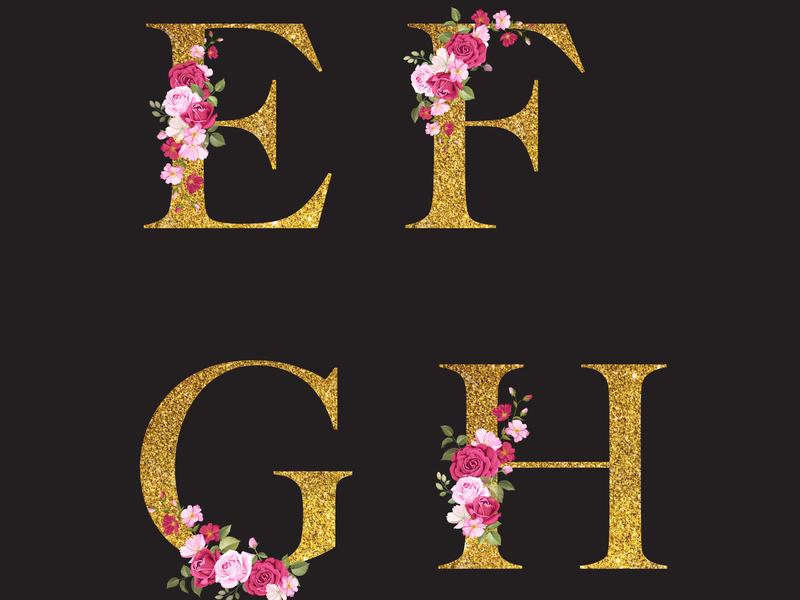 Composition of the letter and floral elements rustic symbol rose arrangement text logo alphabet frame design element bouquet blossom wedding leaf invitation lettering background flower illustration floral