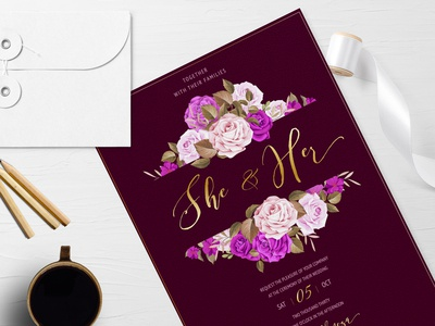 wedding invitation set with beautiful flowers and leaves