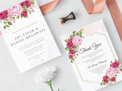 Beautiful Wedding invitation Floral template