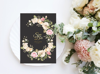 Beautiful Wedding invitation card with floral and leaves