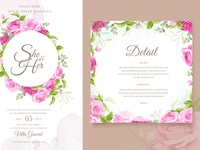 wedding invitation watercolour with beautiful floral theme