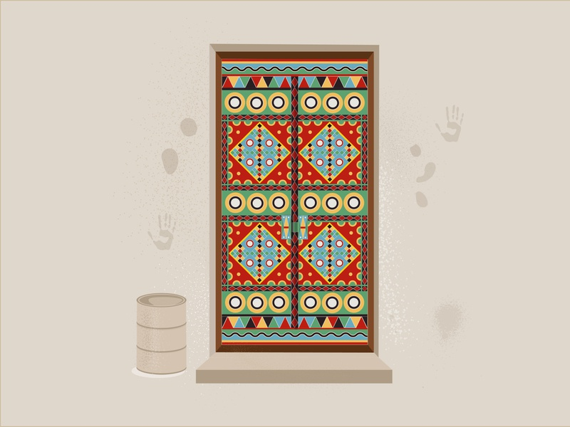 Traditional  Door ornament decoration art drawings illustrator drawing illustration flat design traditional door