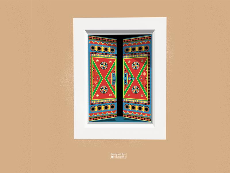 Heritage window arabic saudi decoration decor illustration drawing art design illustrator window