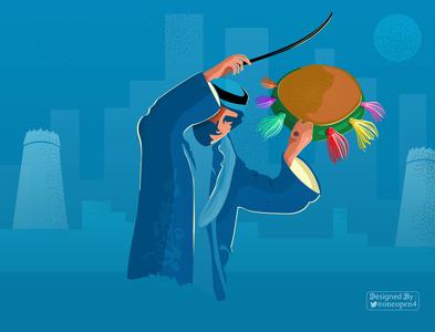Folkloric Dancer celebrations cultural center poetry dancers man saudi folkloric dancer photoshop character art drawing design
