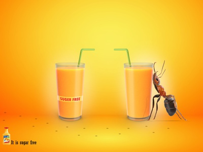 Suger Free sweets sweet frish drink adobe design creative advertising ant orange juice free sugar