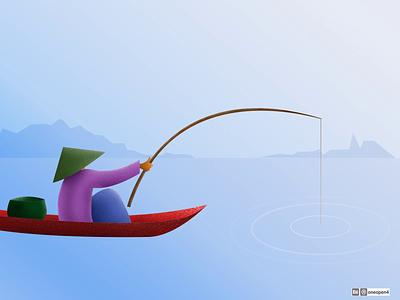 Fisherman sea man adobe design character drawing fisherman fish chinese china