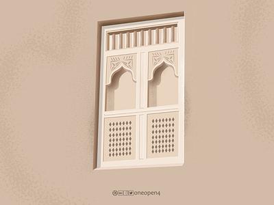 Heritage Window oman ornament design illustrator drawing art decoration decor old window
