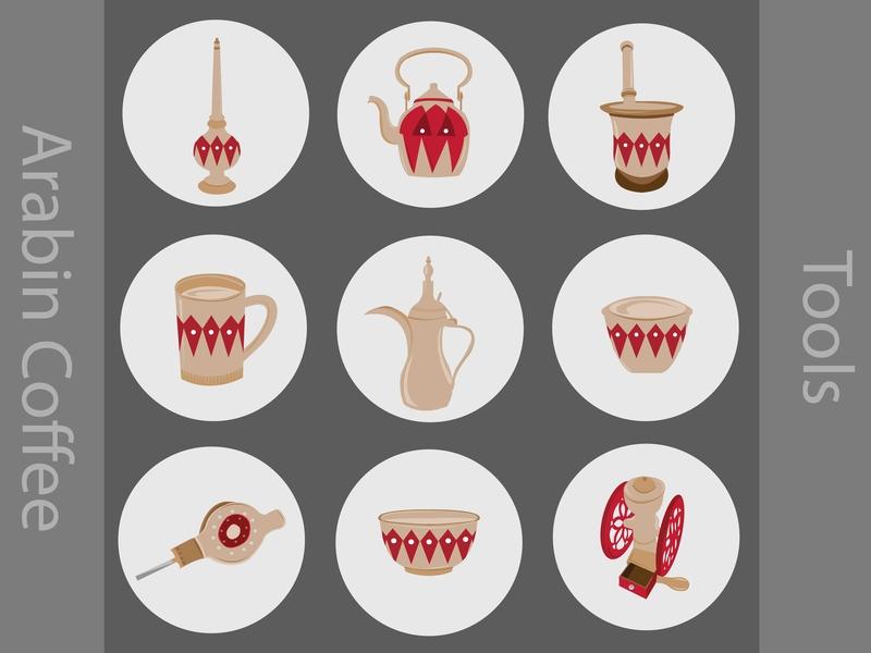 Arabin Coffee tools icons beans bean illustration coffee icons