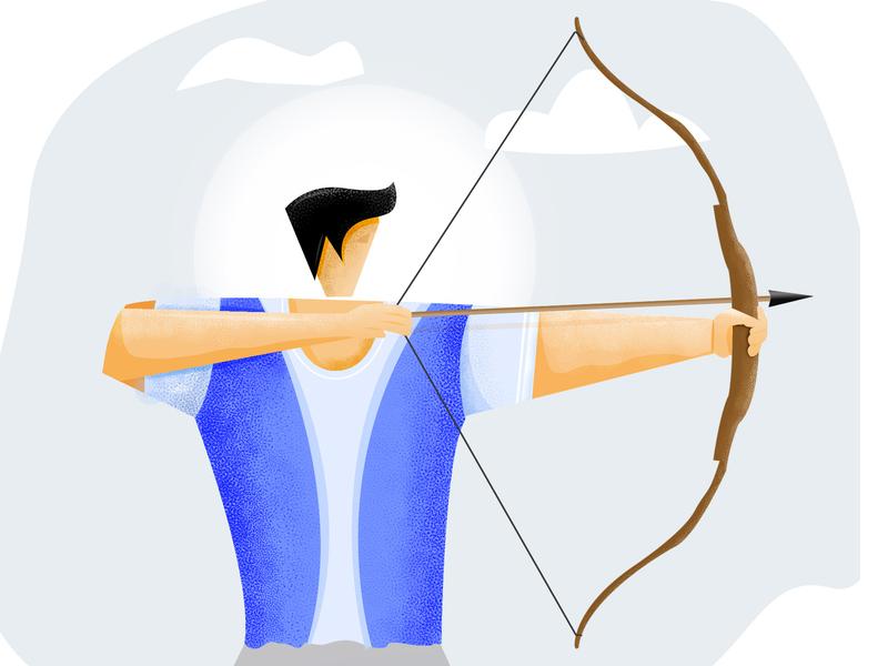 Man's Archery illustration illustration art gym gym app sportman sport people fitness excercise color character designer affinity photo