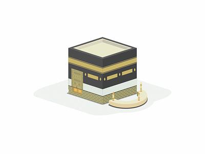 Ka'bah Al-Musharrafah prespective qibla baytullah kaaba mecca islam illustration isometry landmark isometric design isometric vector flat desig design