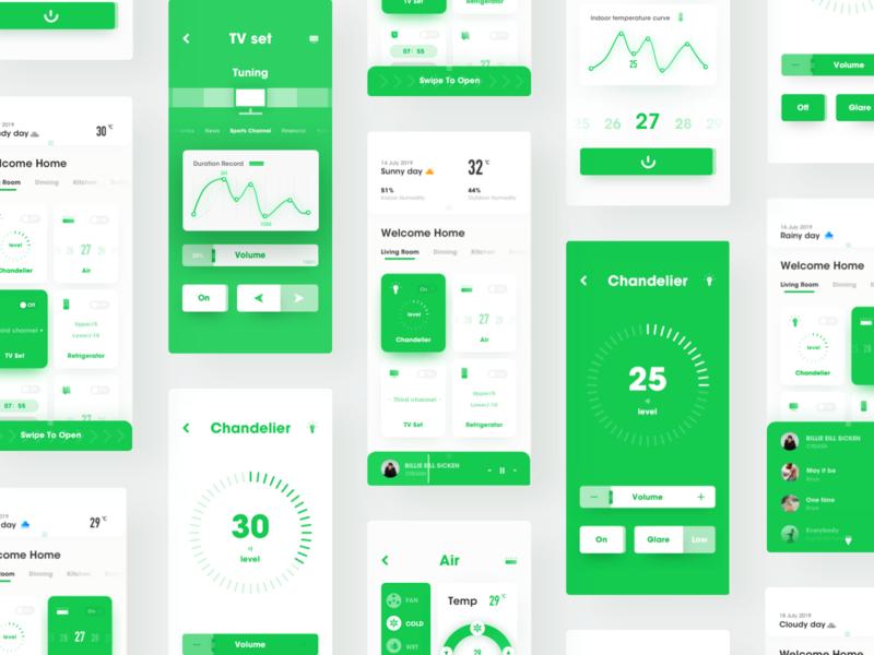 Intelligent home intelligent control-Smart Home-4 smart home green music design app ux ui