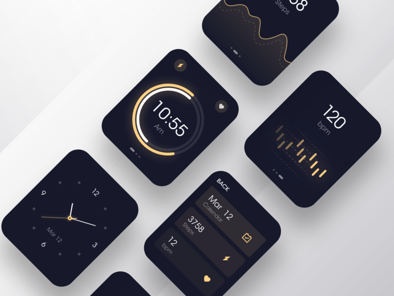 Watch OS - Dark mode dark ui dark app health gradient watch dial logo data visualization branding music icon black design app ux ui