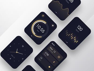 Watch OS - Dark mode dark ui dark app health gradient watch dial logo data visualization branding music icon black design app ux ui
