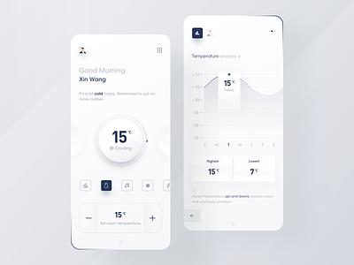 Intelligent management app blue temperature smart home app smart home data data visualization icon black design app ux ui