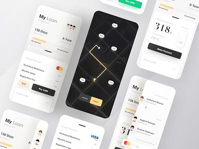 Rental market management system card master visa bank yellow interface mapbox map data visualization branding web icon black design app ux ui