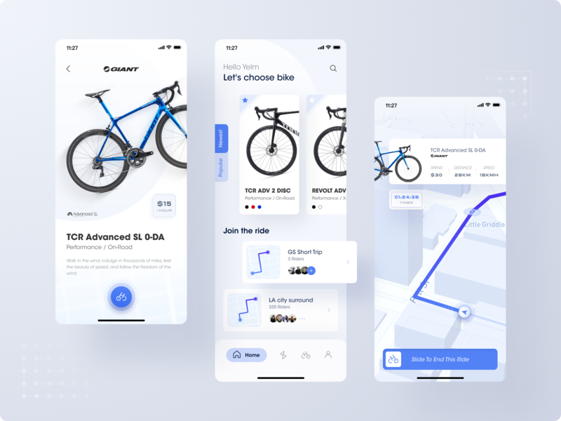 Bicycle rental system icon blue bicycle bike mobile design app ui ux