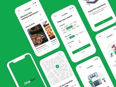 ShopHere App fooddelivery food ui design uidesign adobe xd app ios app ios adobexd shopping cart shopping app shopping shopify shop