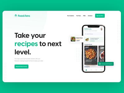 Food.fans Landing page landing page web design website design socail media foodfan food