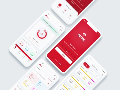 Airtel Broadband  Concept iOS App apple adobe xd free xd free psd freebie free concept airtel usage ios app broadband internet
