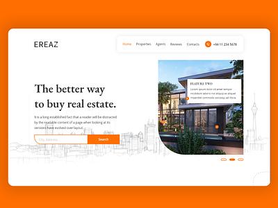Ereaz Real State Landing Page UI Design webdesign web uiux uidesign adobe xd ui landing page landing home realstate