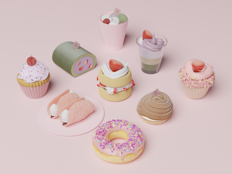 3D Pastries (High-resolution) 3d illustration 3d art