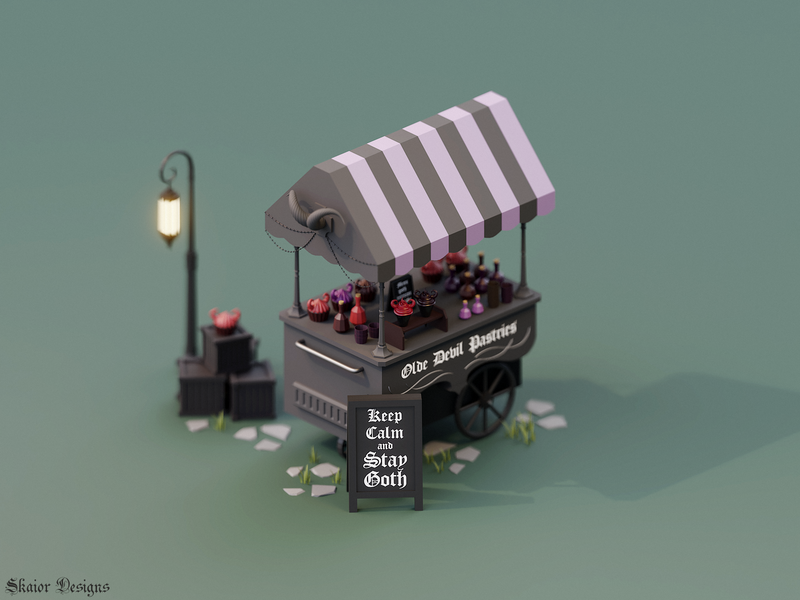 Low Poly Gothic Ice Cream Cart purple red black icecream devil cupcakes 3d alternative lantern horns potions gothic goth illustration low poly lowpoly isometric blender