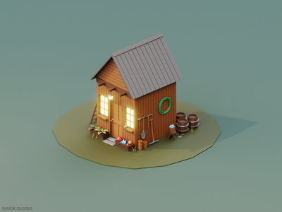 Low Poly Garden Tool Shed cabin lantern rake shovel tools crystals mushrooms garden tool shed low poly lowpoly isometric diorama illustration 3d blender