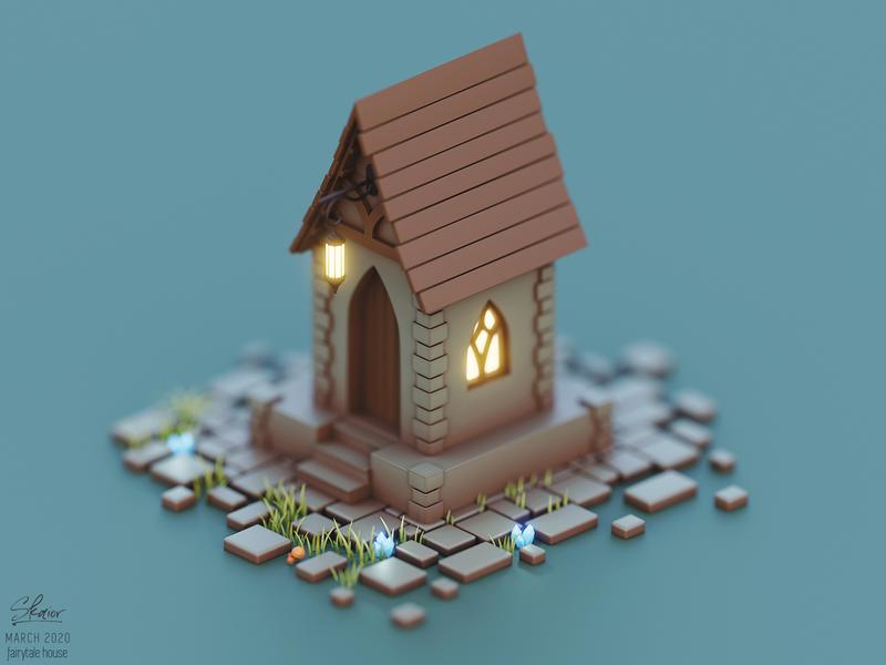 Elven fairytale house fantasy art enchanted bricks cabin fairytale elven house b3d diorama 3d illustration isometric blender