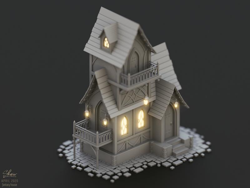 Fantasy elven house concept lantern 3d art fantasy medieval fairytale house elven building blender3d illustration diorama 3d isometric blender