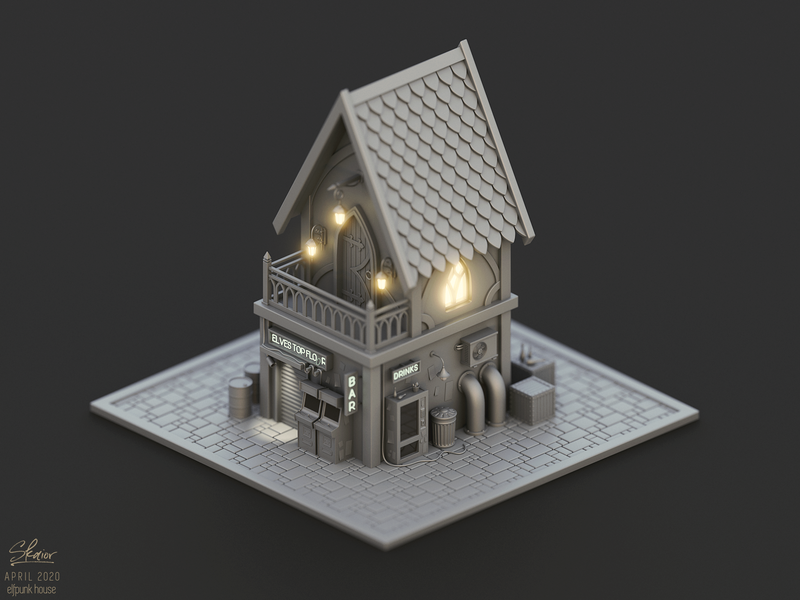 Elfpunk house concept fairytale lantern neon sign fantasy art elven industrial pipes wires arcade machine vending machine cyberpunk 3d modeling house 3d art blender3d diorama 3d illustration isometric blender