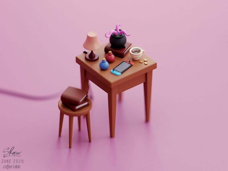 Fantasy coffee table diorama 3d modeling blender3d stylized tentacles coffee table potions switch cauldron fantasy 3d illustration isometric blender