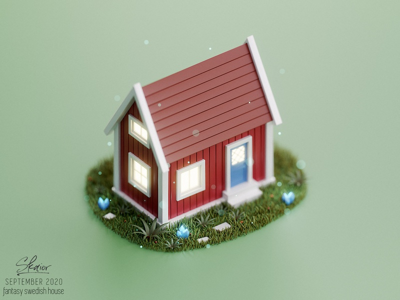 Fantasy Swedish House Diorama green blue door bricks 3d modeling 3d art summer house wooden crystals grass red house 3d illustration isometric diorama blender3d blender