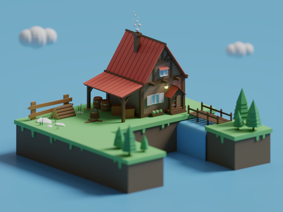 Low Poly Isometric Lumberjack House illustration 3d modeling lumberjack low poly lowpoly house diorama cottage building 3d art 3d isometric blender3d blender