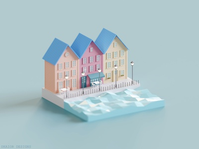 Low Poly Isometric Canal Houses
