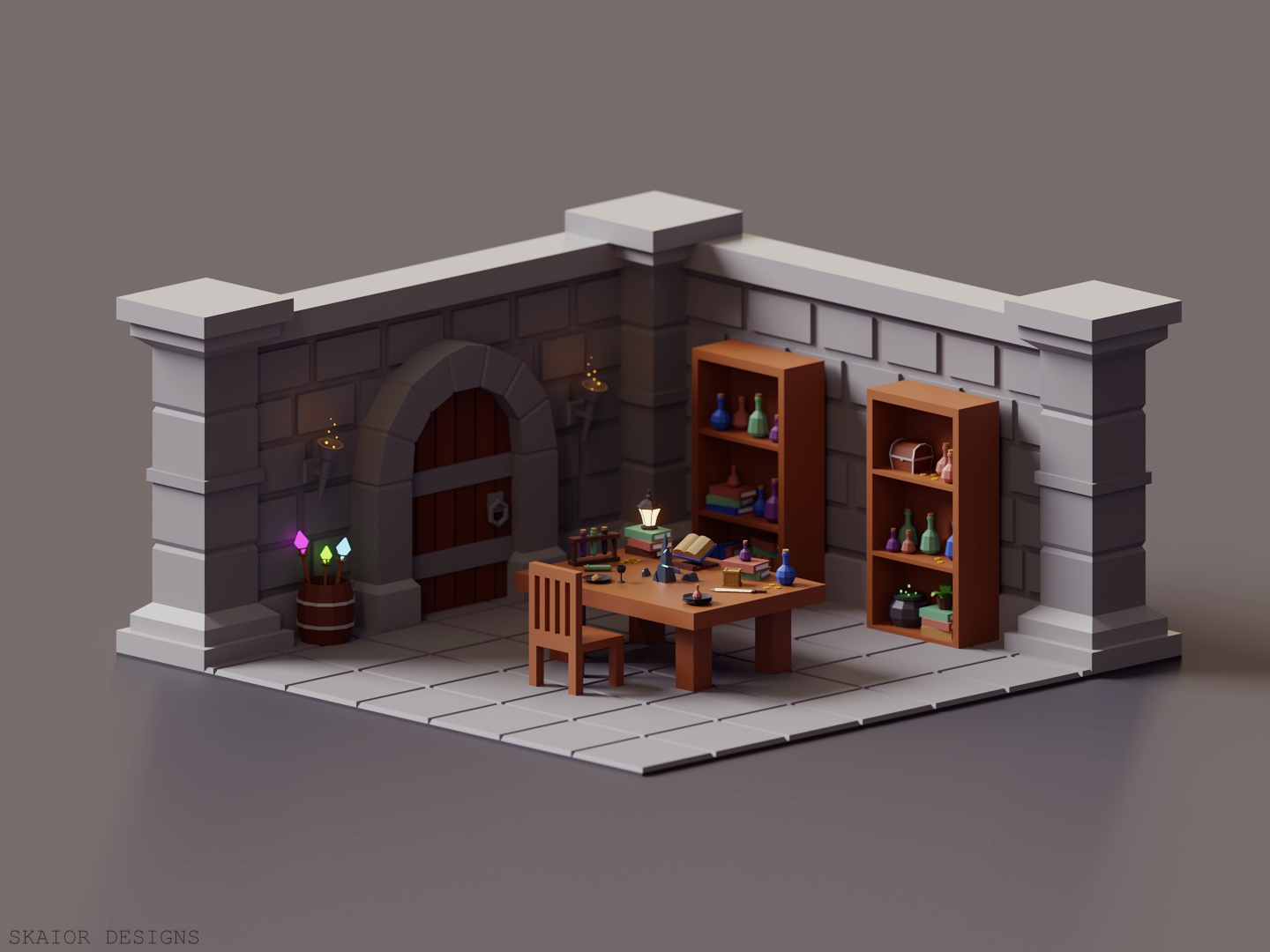 Low Poly Isometric Dungeon Room 3d art interior cauldron potions wizard illustration 3d modeling diorama low poly lowpoly 3d isometric room dungeon blender3d blender