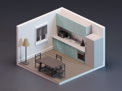 Low Poly Isometric Kitchen