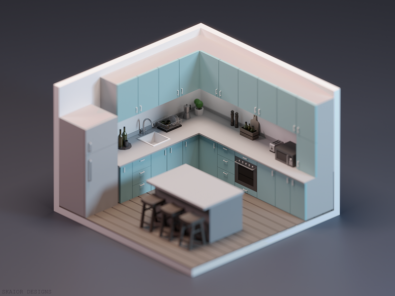Low Poly Isometric Kitchen #2 room kitchen 3d modeling illustration 3d art diorama low poly lowpoly 3d isometric blender3d blender